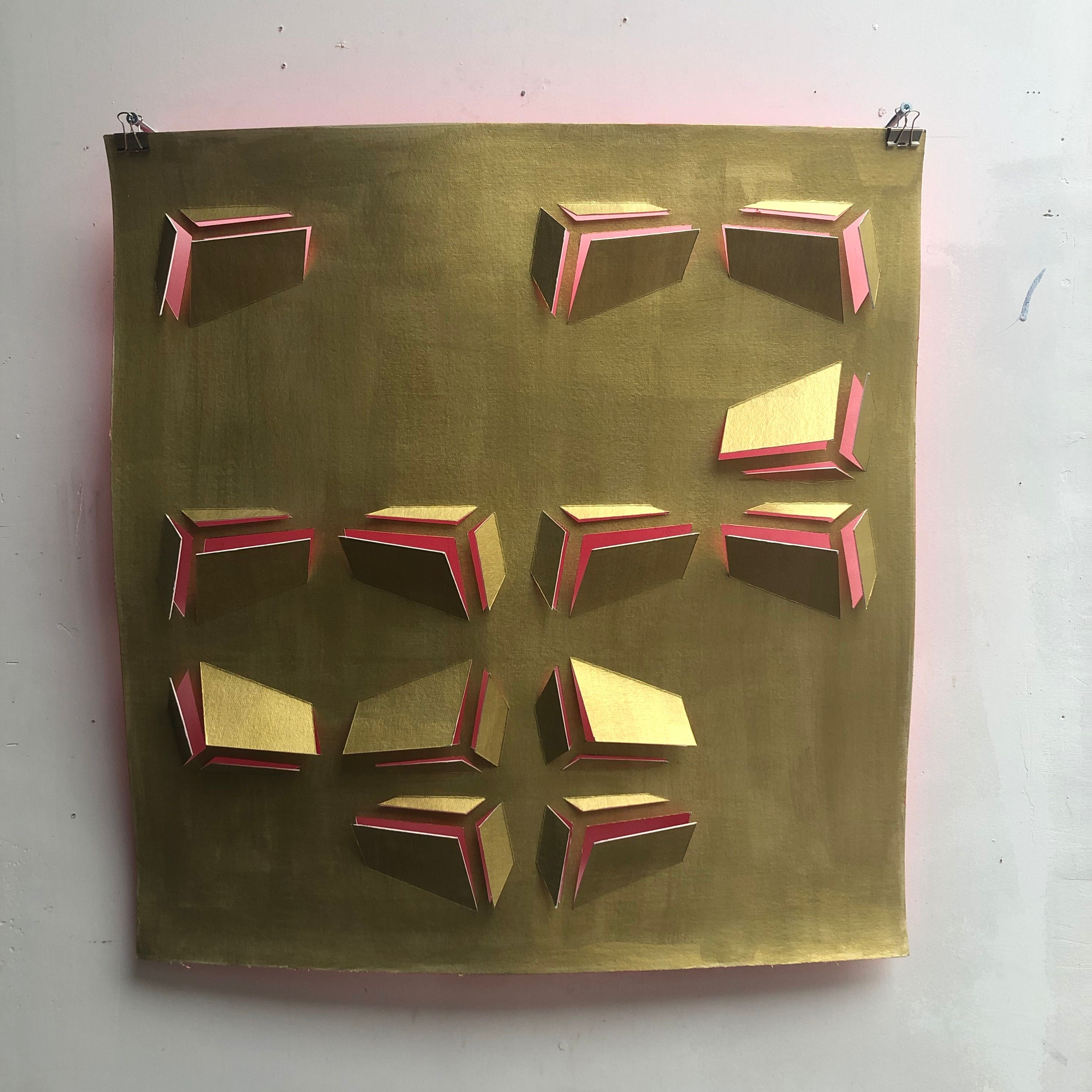 'Gold/Pink - Buenos Aires Blocks Cut